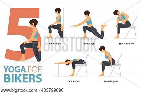 Infographic 5 Yoga Poses For Workout At Home In Concept Of Bikers In Flat Design. Women Exercising F