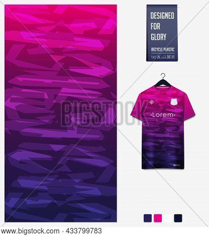 Soccer Jersey Pattern Design. Abstract Pattern On Violet Background For Soccer Kit, Football Kit, Bi