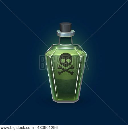 Witchcraft Glass Bottle With Danger Poison, Magic Potion Drink, Cartoon Vector. Skull And Crossbones