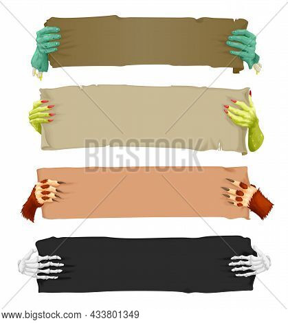 Cartoon Scary Hands With Banners And Scrolls, Vampire, Werewolf, Skeleton And Halloween Zombie, Vect