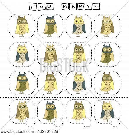 How Many Counting Game With Funny Owl. Worksheet For Preschool Kids, Kids Activity Sheet, Printable