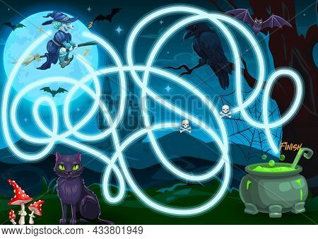 Children Search Way Halloween Maze With Spooky Black Cat And Raven, Cartoon Witch Flying On Broom, C