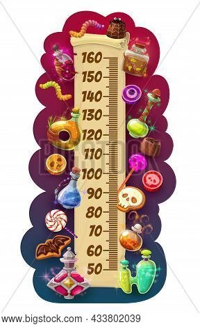 Kids Height Chart Halloween Scroll With Sweets, Growth Measuring Meter. Vector Wall Sticker With Pot