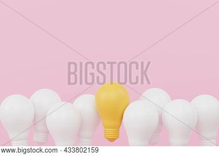Light Bulb Yellow Outstanding Among Lightbulb Group. Concept Of Creative Idea And Innovation, Unique