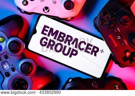 Kazan, Russia - September 13, 2021: Embracer Group Is A Swedish Video Game Holding Company. A Smartp