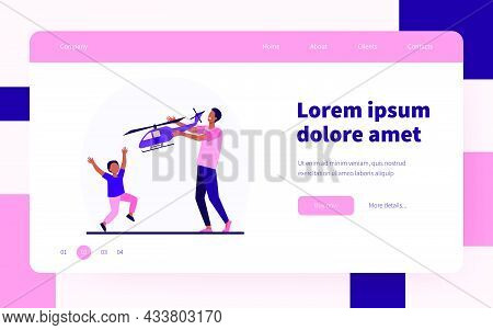 Happy African American Father And Son Playing With Helicopter. Toy, Dad, Kid Flat Vector Illustratio