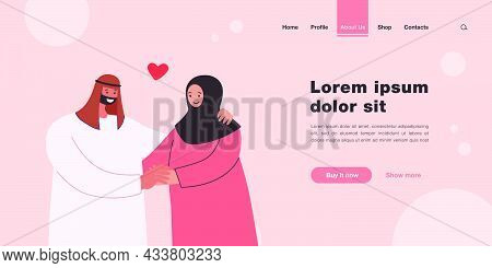 Happy Muslim Couple Holding Hands. Husband And Wife In Traditional Arabic Clothes Flat Vector Illust