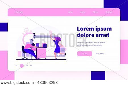 Lazy Office Worker. Man Sleeping At Workplace, Colleague With Paper Running To Him Flat Vector Illus