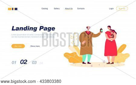 Pediatrician Giving Mother Medicine For Child. Woman Holding Baby, Consulting Old Doctor Flat Vector