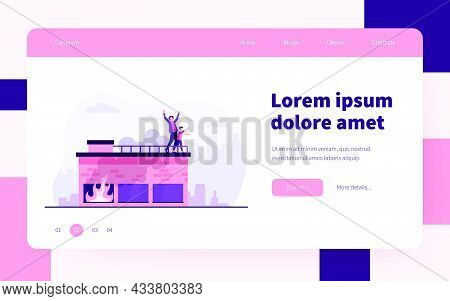 People Calling For Help On Top Of Fire Building. Accident, Smoke, Victim. Flat Vector Illustration.