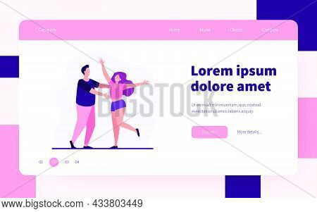 Smiling Couple Greeting And Embracing Each Other. Boyfriend, Girlfriend, Happiness Flat Vector Illus