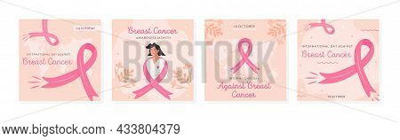 Set Of Vector Cards For International Day Against Breast Cancer. Collection Of Square Banner Templat