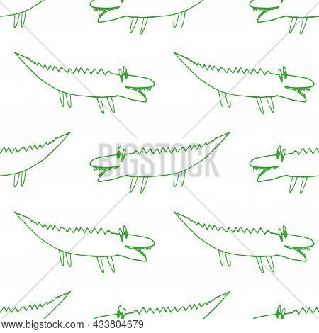 Crocodiles Seamless Pattern Hand Drawn Doodle. Vector, Minimalism. Animals, Cute Baby Print, Wallpap