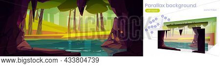 Cave In Rock With Lake And Forest With Grass And Trees Outside. Parallax Background With Layers For