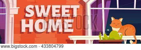 Sweet Home Poster With Vintage Balcony On Building Facade. Vector Banner With Cartoon Illustration O