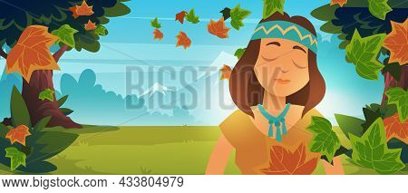 Native Indian American Girl In Autumn Forest. Vector Cartoon Landscape With Mountains, Trees, Green