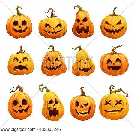 Cartoon Halloween Pumpkins, Jack O Lantern Isolated Scary Characters. Halloween Pumpkin Lanterns, Cu