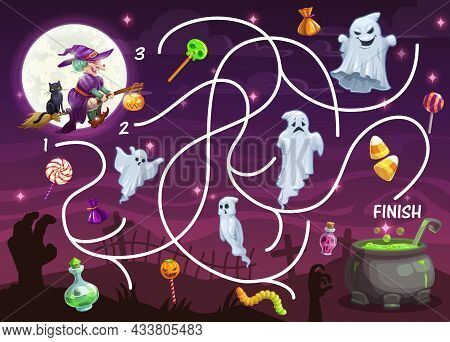 Child Labyrinth Game With Halloween Monsters. Kids Find Path Activity Worksheet, Children Search Way