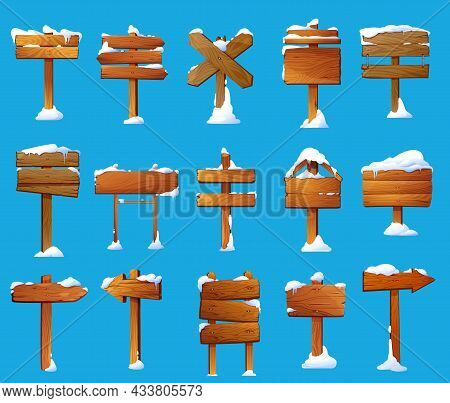 Wood Sign Posts With Snow Cartoon Vector Set. Winter Wooden Sign Boards, Road Direction Signboards A