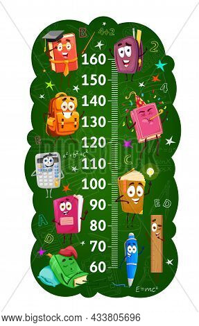 Kids Height Chart Or Ruler With School Books And Stationery. Growth Measure Meter, Child Height Cent