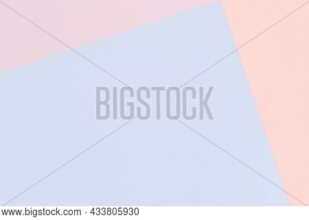Paper Geometric Pastel Background In Pink And Blue Colors With Copy Space