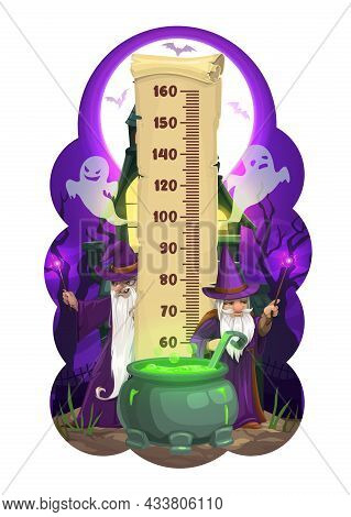 Halloween Kids Height Chart, Cartoon Wizards And Ghosts. Vector Growth Measure Wall Sticker Meter Fo