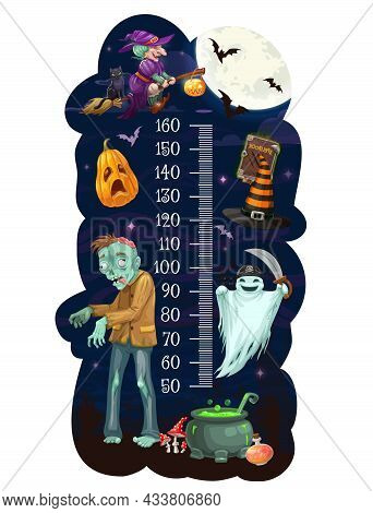 Kids Height Chart With Cartoon Halloween Monsters Vector Design Of Growth Measure Meter With Ruler S