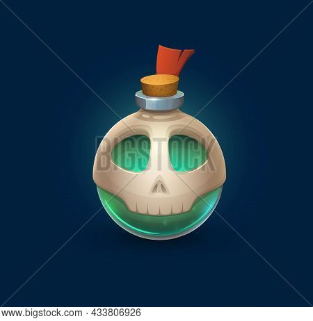 Witchcraft Glass Bubble Bottle With Skull And Poison, Vector Cartoon Magic Potion Flask. Halloween H