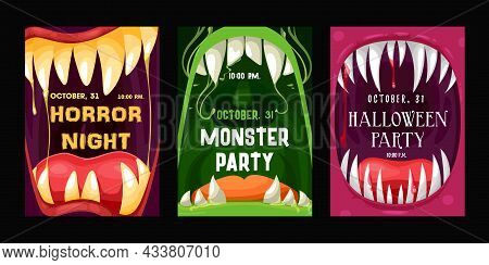 Halloween Party Vector Flyers With Monster Mouths. Cartoon Invitation Posters With Open Toothy Jaws