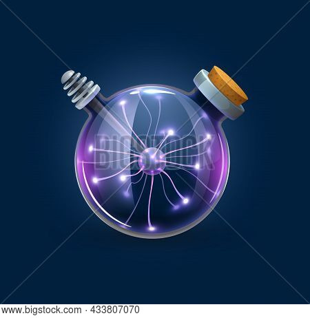 Witchcraft Bubble Bottle With Lightning Discharges, Magic Ball Lightbulb. Witch Or Sorcerer Magic Cr