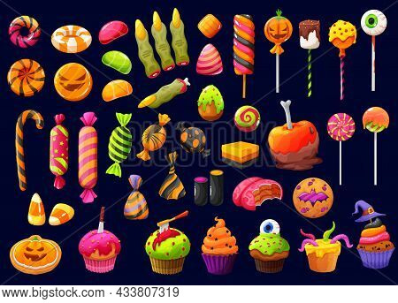 Halloween Cartoon Candies And Lollipops With Witch Fingers, Candy Corn And Pumpkin Cupcakes, Vector.