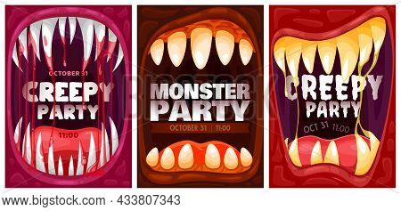 Halloween Party Poster Or Flyer Background, Vector Monster Celebration Holiday. Happy Hallowing And