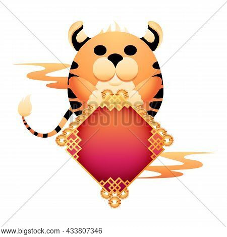 Symbol Of Coming 2022 Chinese New Year Of The Tiger. Cartoon Tiger Holding Traditional Gold Coin Pen