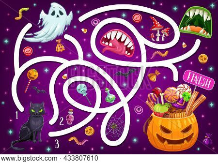 Kids Maze Game With Halloween Characters And Monster Mouths. Vector Labyrinth Puzzle Find Correct Wa