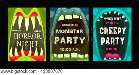 Halloween Party Vector Flyers With Monster Mouth, Cartoon Invitation Posters With Open Zombie Or Ali