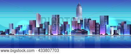 City Buildings Skyline Modern Architecture Cityscape Background Horizontal
