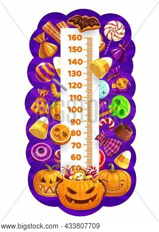 Halloween Kids Height Chart, Trick Or Treat Sweets And Pumpkins Growth Measure . Cartoon Vector Wall