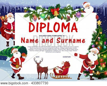 Children Christmas Diploma With Santa Claus Character. Kids Education Graduation Certificate, Child
