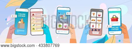 Human Hands Using Mobile App For Ordering Groceries Fast Delivery Online Shopping E-commerce Food Or