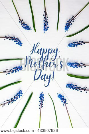 Happy Mothers Day Postcard Layout. Flat Lay, Top View. Blue Hyacinths In Row Square Shape. Greeting