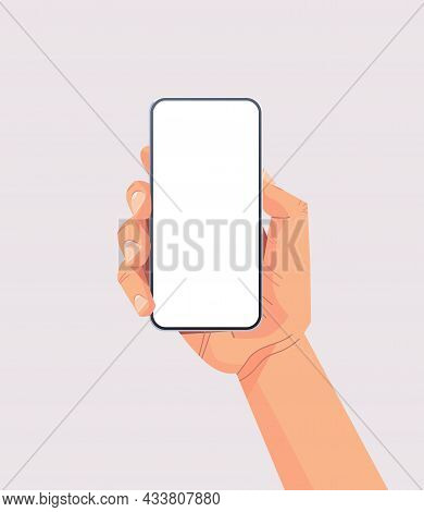 Human Hand Holding Smartphone With Blank Touch Screen Using Mobile Phone Concept Isolated Vertical