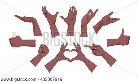 Set African American Human Hands Showing Different Gestures Communication Language Gesturing