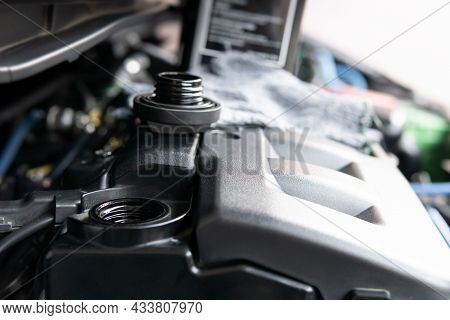 Engine Oil Cap Hole Open For Adding Engine Oil In Engine Room For Level Check And Engine Oil Gallon