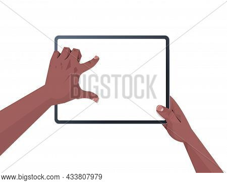 African American Human Hands Holding Tablet Pc With Blank Touch Screen Using Digital Device Concept