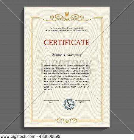 Certificate Or Diploma Vertical Template. Vintage Vertical Gold Frame On A Plain Security Mesh Backg