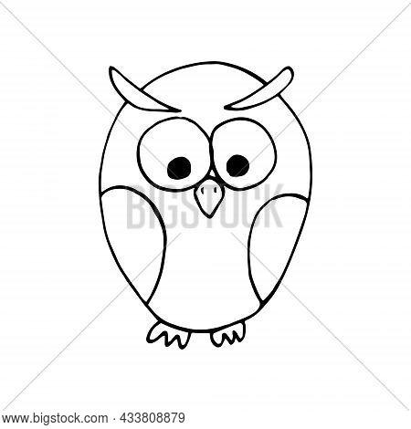 Owl Hand Drawn Doodle. Vector, Scandinavian, Nordic, Minimalism, Monochrome. Bird Children Print Sti