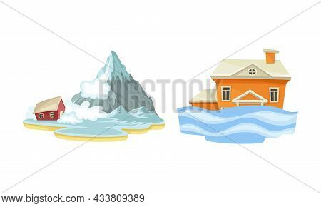 Natural Disasters Set. Snow Avalanche And Flood Cataclysms Cartoon Vector Illustration