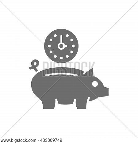 Clock With Piggy Bank, Investment, Debt, Save Time Grey Icon.