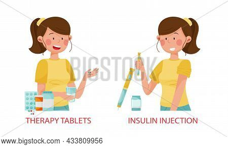 Diabetes Disease Advices Set. Therapy Tablets, Insulin Injection Vector Illustration