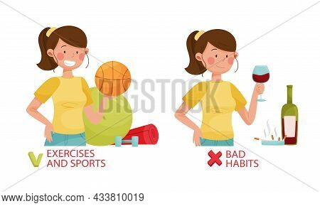 Harmful And Useful Habits For Diabetes. Exercises And Sports, Bad Habits Vector Illustration
